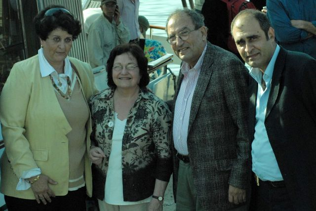 Nobel laureate Mairead Maguire with Gaza human rights activists Dr. Mona El-Farra, Dr. Eyad Seraj, and Amjad Shawa