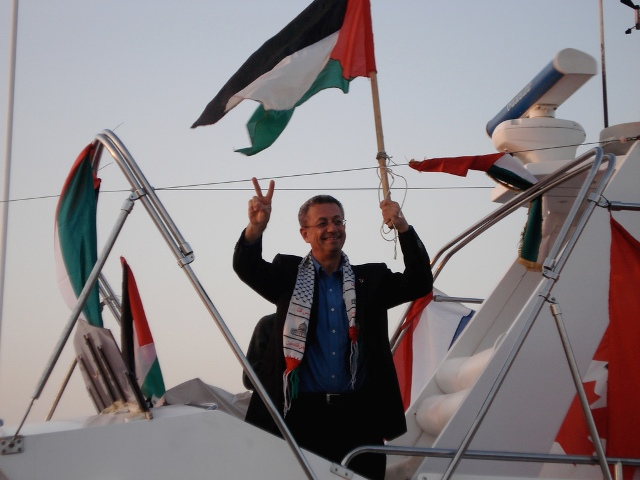 Palestinian legislator & Presidential candidate Mustafa Barghouti, aboard the DIGNITY (October 2008)